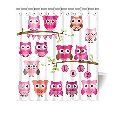 MKHERT Cute Cartoon Owls for Baby Kids Girls Decor Waterproof Polyester Fabric Shower Curtain Bathroom Sets 66x72 inch (Baby Shower Decor For Girls)