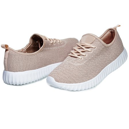 Chatties By Sara Z Womens Low Top Fashion Athletic Sneaker Shoes for Ladies Light Weight Running Walking Casual Shoes Size 11 Blush ()