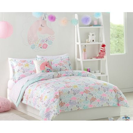Pastel Unicorns Amp Flowers Girls Twin Comforter Set 5