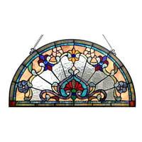 "CHLOE Lighting EMERSYN Victorian Tiffany-glass Window Panel 24"" Wide"