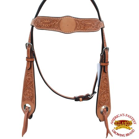 HILASON WESTERN AMERICAN LEATHER BRIDLE HEADSTALL TAN COLOR FLORAL DESIGN