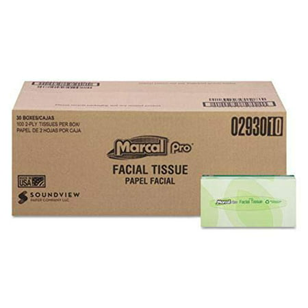Marcal PRO 100% Recycled Convenience Pack Facial Tissue, Septic Safe, 2-Ply, White, 100 Sheets/Box, 30 Boxes/Carton -MRC2930