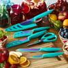 Farberware Colourworks 11-piece Rainbow Titanium Teal Knife Set