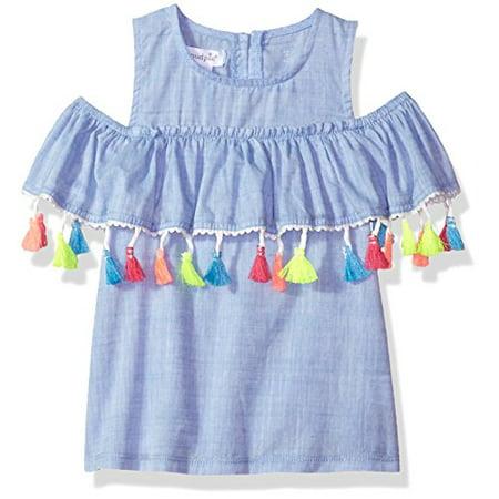 Tee Mud Pie (Mud Pie Baby Girls Chambray Cold Shoulder Tassel Top, Blue, Small 12-18 Months)
