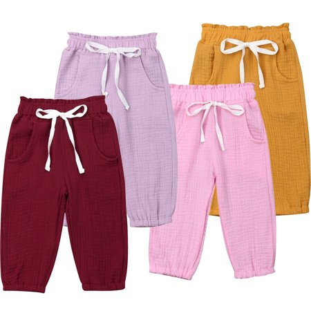 Toddler Baby Kids Girl Foam Cotton Wrinkled Bloomers Wide Leg Trousers Leggings Pants Bottoms Clothes