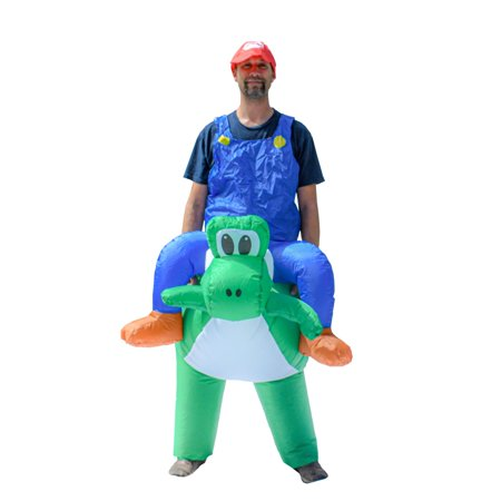 Yoshi Diy Costume (ALEKO Halloween Inflatable Party Costume - Mario Riding Yoshi - Adult)
