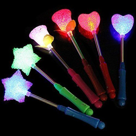 5 pcs LED Flashing light up stick Multi Color Glow Rose Wand Party Concert Favor](Glow Stick Wands)