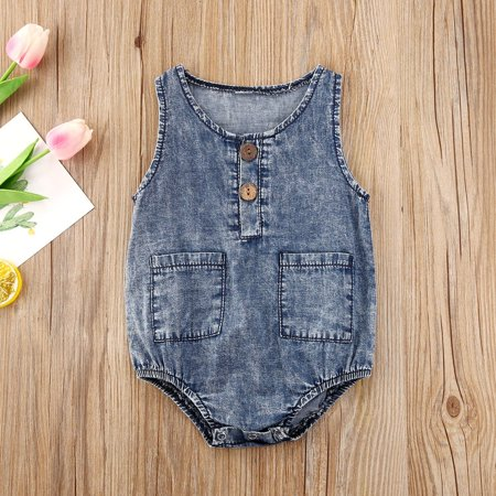 Unisex Infant Sleeveless Romper Summer Baby Girls Boys Round Collar Pocket Denim Cotton Jumpsuit Clothing - image 4 de 4