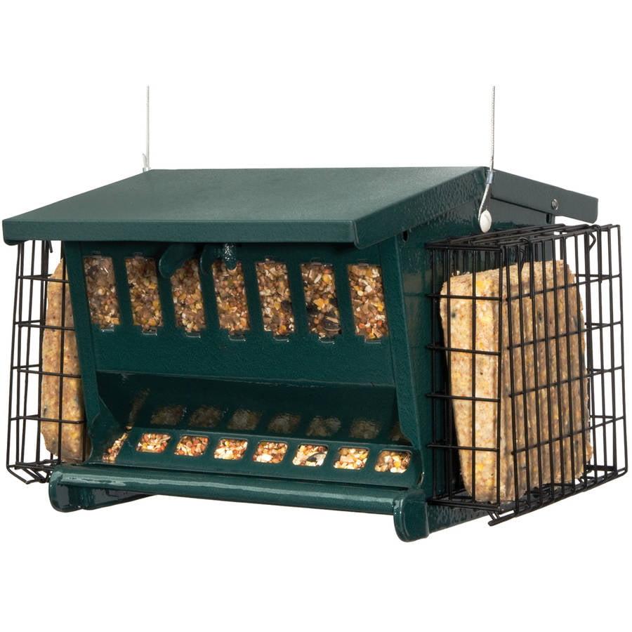 """Audubon 7454 11"""" x 7"""" Dark Green Steel Seeds 'N More Bird Feeder"""