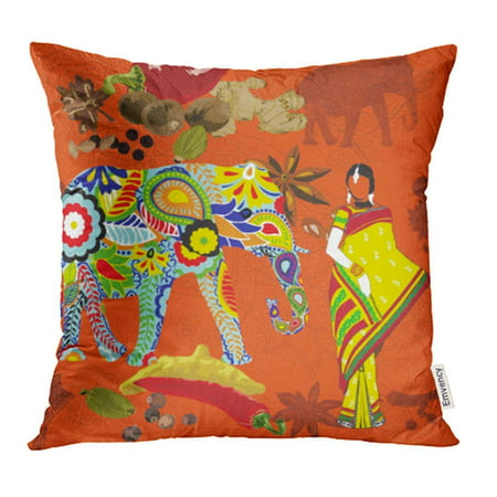 EREHome Orange Bright with The Symbols of India Red Elephant Asafoetida Spices Chili Pillow Case Pillow Cover 20x20 inch Throw Pillow Covers - image 1 de 1