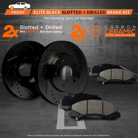 Max Brakes Front Elite Brake Kit [ E-Coated Slotted Drilled Rotors + Ceramic Pads ] KT139281 | Fits: 1996 96 Dodge Ram 2500HD w/4WD & 8800 LB GVW - image 1 de 8