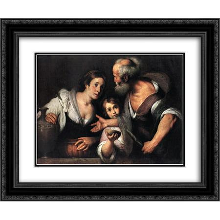 Bernardo Strozzi 2X Matted 24X20 Black Ornate Framed Art Print Prophet Elijah And The Widow Of Sarepta