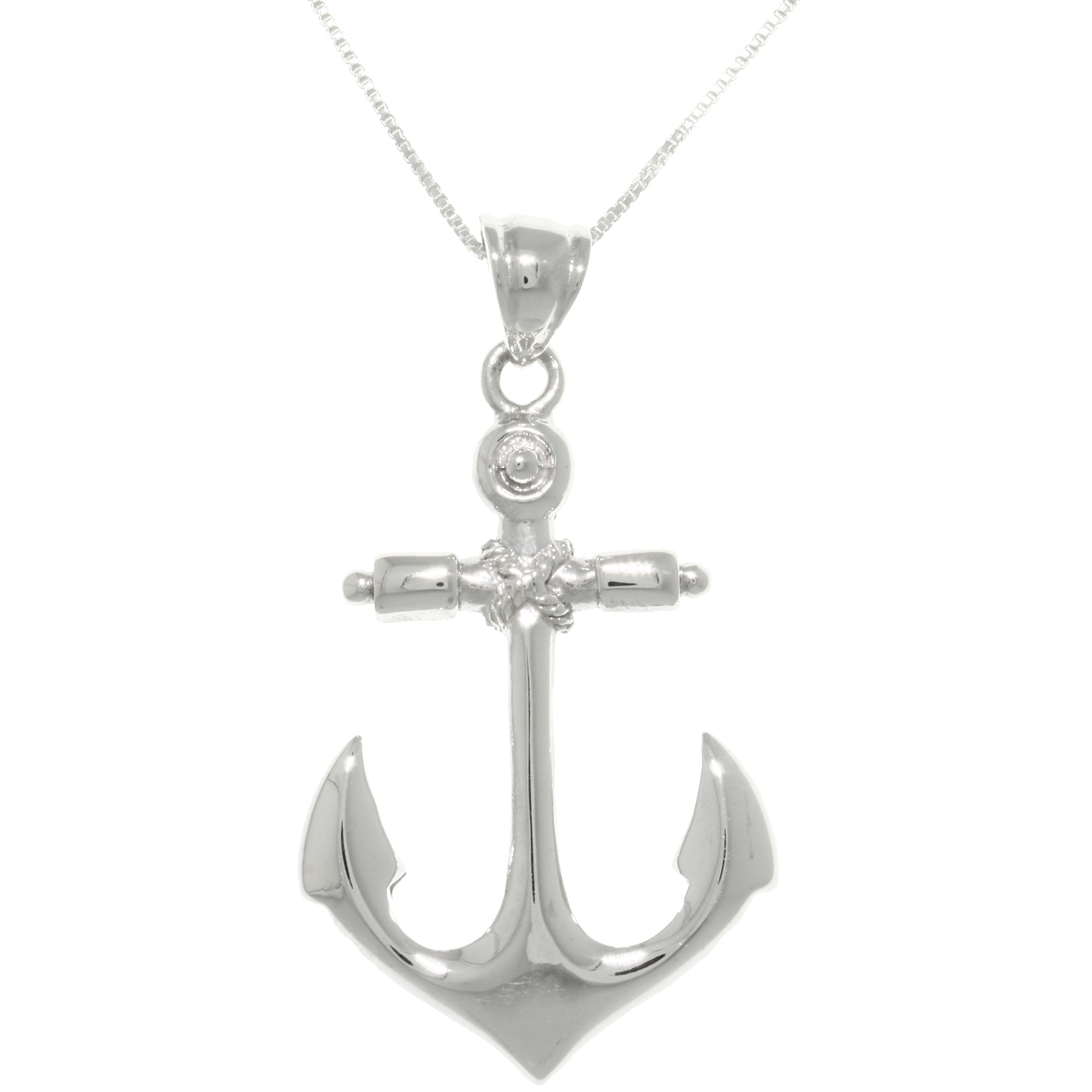 Carolina Glamour Collection  Sterling Silver Nautical Anchor Hope and Protection Pendant on Box Chain Necklace