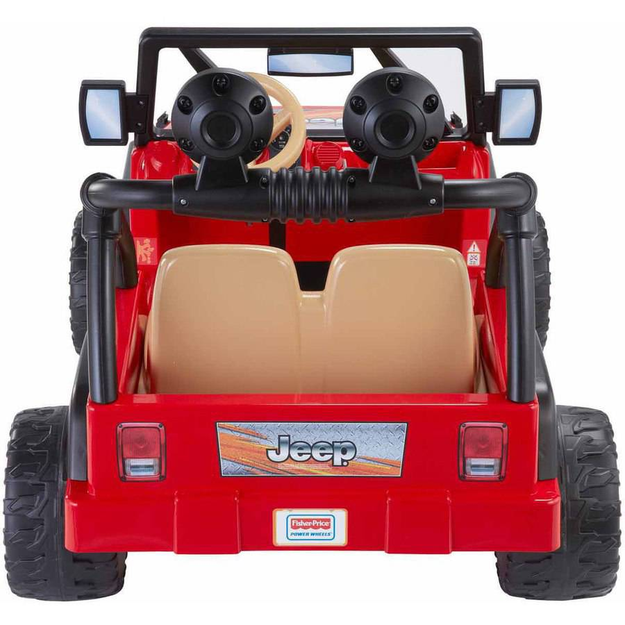Superbe Power Wheels Jeep Wrangler 12 Volt Battery Powered Ride On Red Roomy Storage
