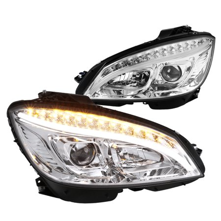 Spec-D Tuning For 2008-2011 Mercedes Benz W204 C-Class Replacement Strip Led Signal Lamp Projector Headlights (Left+Right) (Mercedes Benz Tuning)