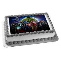 Marvel Avengers Captain America The Hulk Iron Man Thor Black Widow Clint Barton Nick Fury Edible Cake Topper Image
