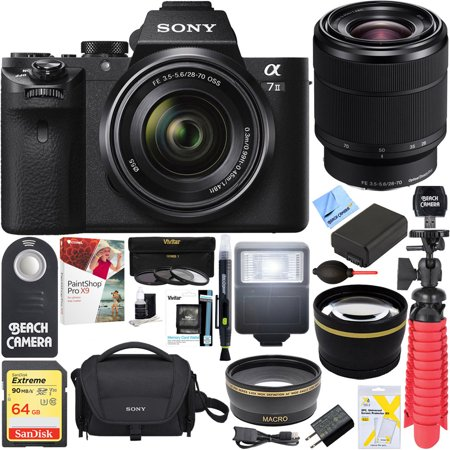 Sony a7 II Mirrorless E-mount Alpha Camera with Full Frame Sensor and FE 28-70mm F3.5-5.6 OSS Lens SEL2870 + 64GB SDXC Memory Kit + Spare Battery Accessory Bundle (Sony Alpha A7s)