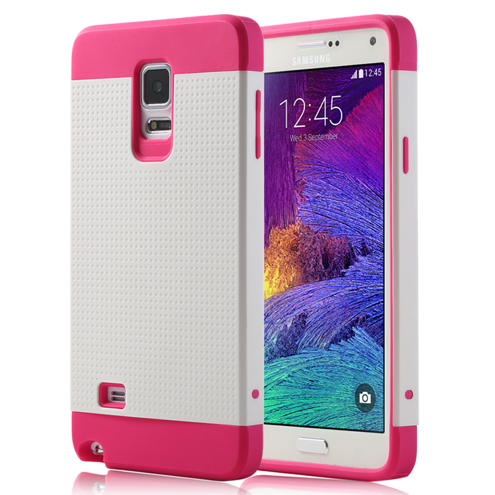 ULAK Galaxy Note 4 Case,Hybrid Cover - Dual Layer Design TPU + Plastic Rugged Impact Protective Cases Cover for Samsung Galaxy Note 4 (Rose Red/White)