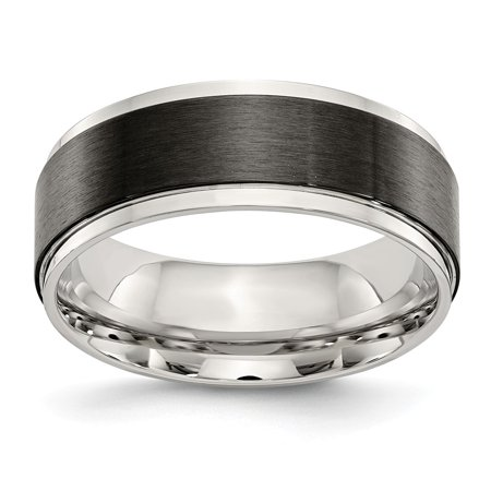10 Centers (Stainless Steel Polished with Black Ip-Plated Brushed Center 8mm Ring - Size)