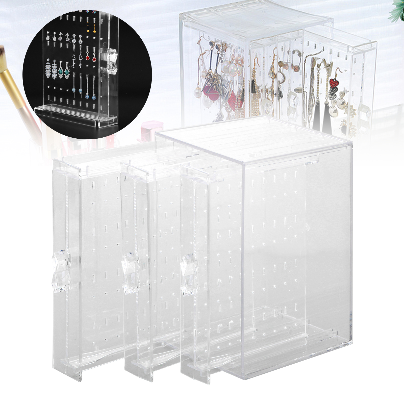 EEEkit Jewelry Storage Box, 3 Vertical Drawer, Earrings Display Stand Organizer Holder, Plastic Clear Bracelet Hanger, Fine Jewelry Organization