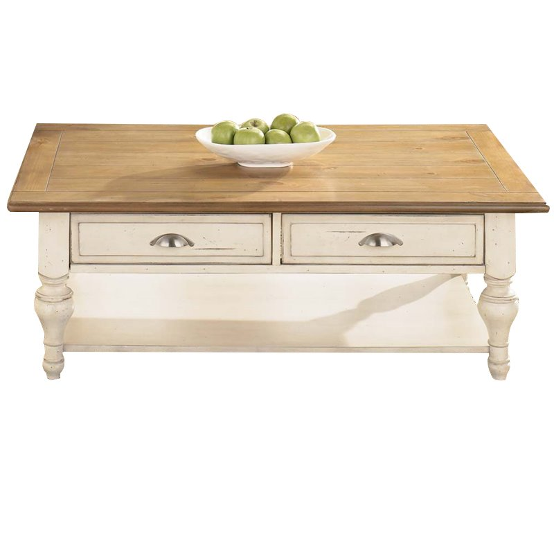 Liberty Furniture Ocean Isle Coffee Table In Bisque With Natural Pine