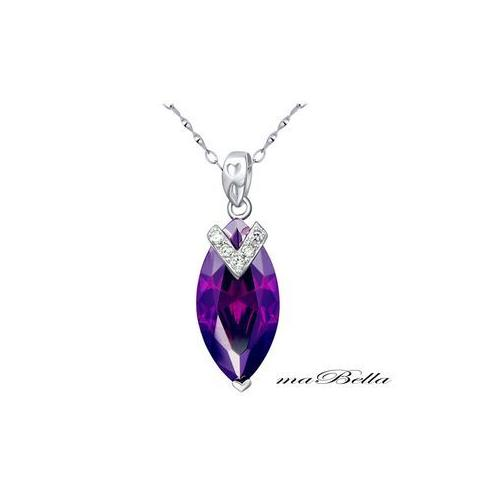 Mabella 7.96 cttw Women's .925 Sterling Silver Marquise Cut 20mm x 10mm Amethyst Pendant, with Gift Box  - VC-P005CA