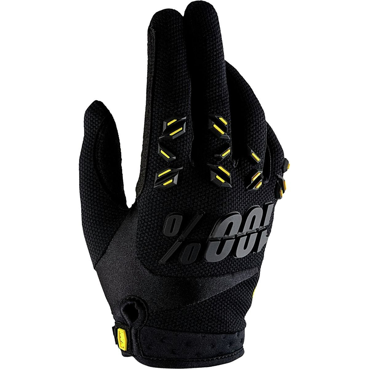 % AirMatic Gloves Black/Black, M - Men's, Material: [backing] polyester mesh with TPR protective studs, [palm] dual-layer Clarino By 100 Ship from US