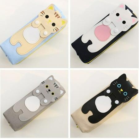 Cute Cat Kitty Pencil Pen Case Cosmetic Bag Purse Zipper Pouch Kawaii - Kawaii Stationery