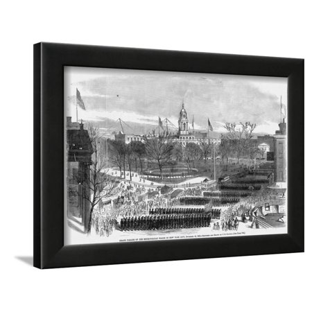 Grand Parade of the Metropolitan Police in New York City, November 16, 1865 by J.R. Chapin Framed Print Wall Art
