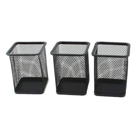 Desk Pen Holder - Unique Bargains Office Desk Metal Mesh Stationery Pencil Pen Holder Container Black 3pcs