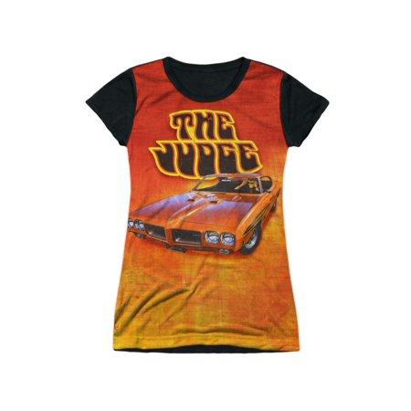 Pontiac GM Automobiles Orange GTO The Judge Juniors Black Back T-Shirt Tee