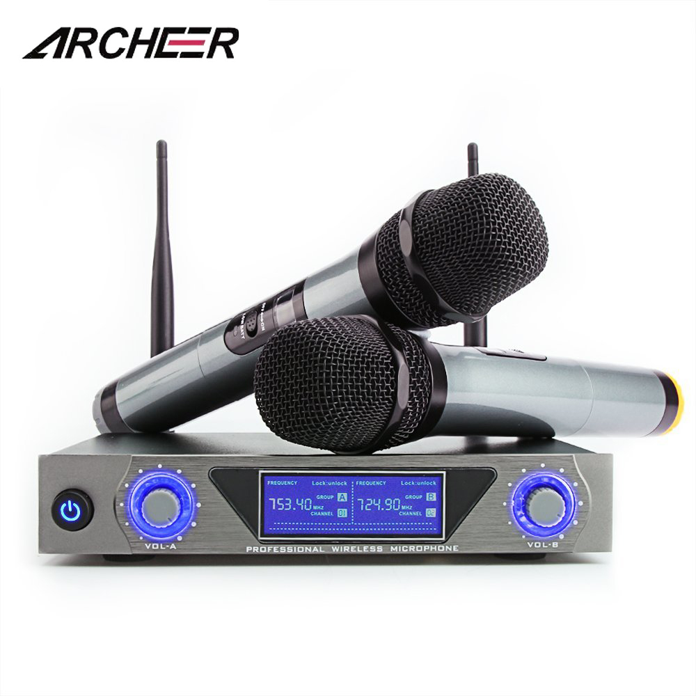 ARCHEER UHF Wireless FM Microphone Receiver System with 2 Cordless LCD Display Handheld... by