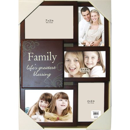5 opening family collage picture frame brown