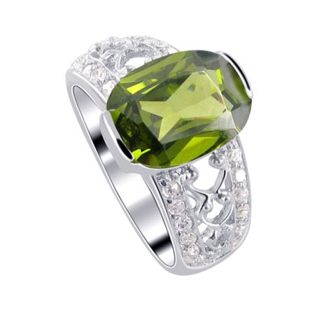 Gem Avenue 925 Sterling Silver Oval Green Cubic Zirconia Solitaire Ring