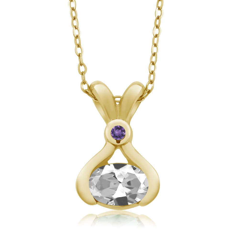 0.99 Ct Oval White Topaz Purple Amethyst 14K Yellow Gold Pendant by