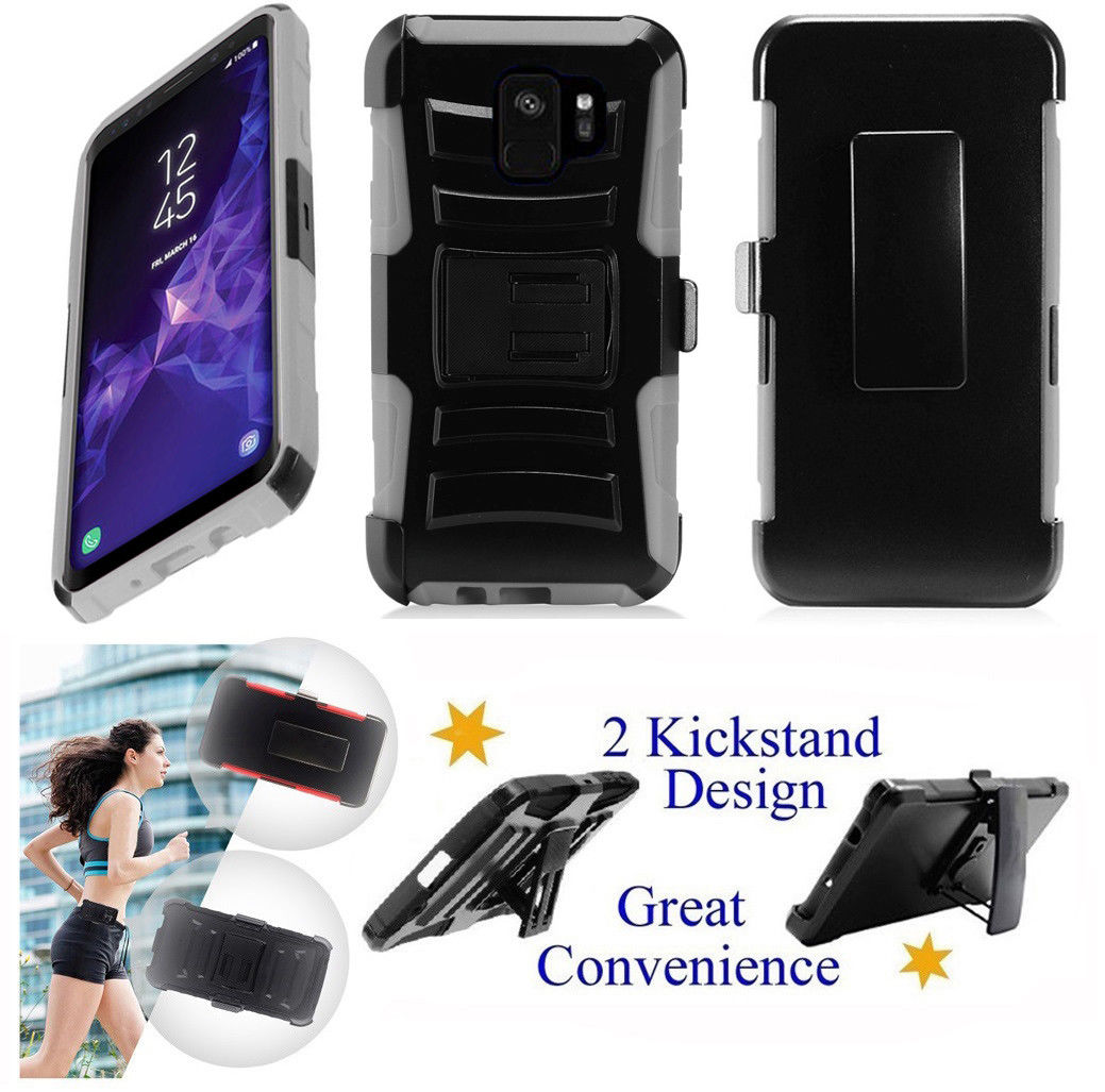 """for 5.8"""" Samsung Galaxy S9 Case Belt Clip Holster Phone Case 2 Kick stand Hybrid Shockproof Armor Impact Bumper Cover Blue"""