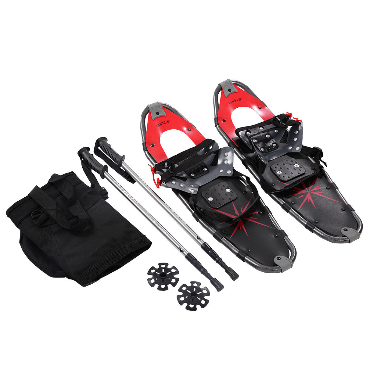 Costway 27'' RED All Terrain Sports Snowshoes + Walking Poles + Free Carrying Bag by Costway