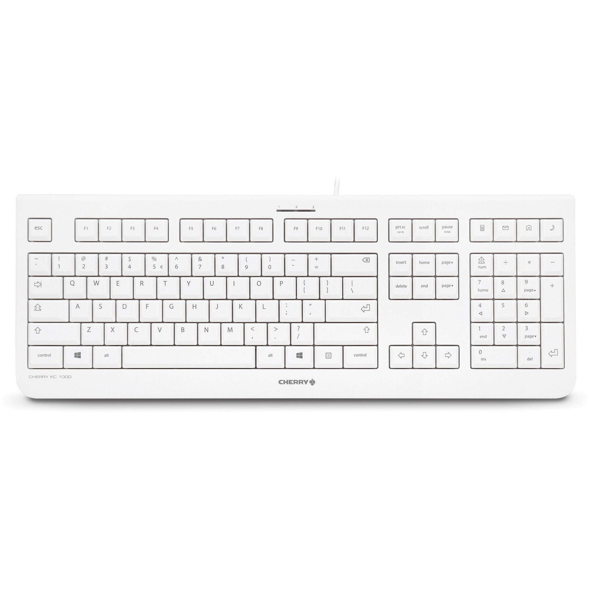 Cherry Kc 1000 Keyboard - Cable - Light Gray - Usb - English [us] - Calculator, Email, Browser, Sleep Hot Key[s] (jk-0800eu-0)