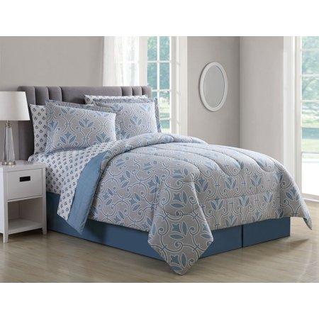 8 Piece Daventry Denim Blue Taupe Comforter Set King Walmart Com