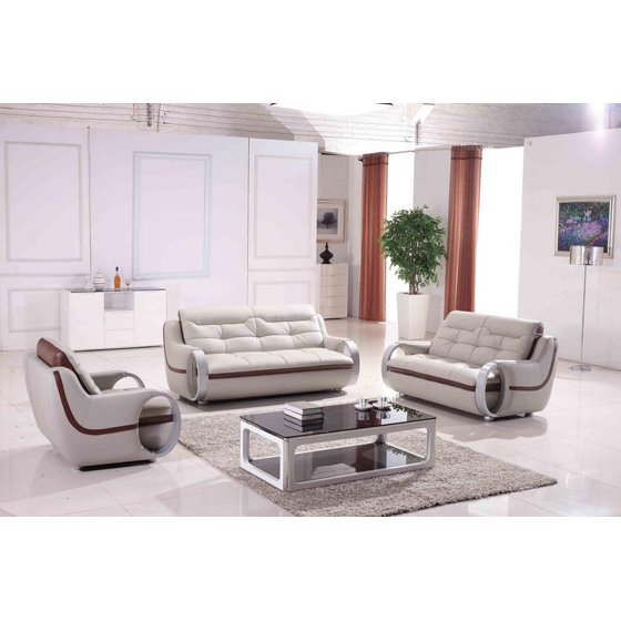 Brilliant Maxwest P328 On Modern Light Grey Genuine Leather Sofa Loveseat And Chair 3 Pcs Unemploymentrelief Wooden Chair Designs For Living Room Unemploymentrelieforg