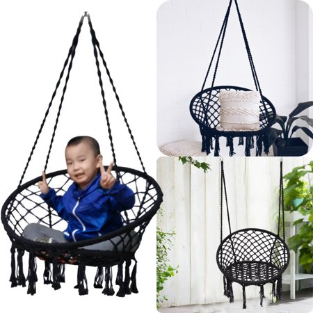 Black Macrame Hammock Chair Hanging Woven Cotton Rope Swing Outdoor Garden 120kg Patio Furniture ()