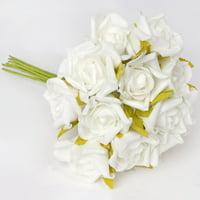 BalsaCircle 72 Foam Blooming Rose Bouquets - 6 bushes - Artificial Flowers DIY Wedding Party Bouquets Arrangements Centerpieces