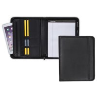"Samsill Professional Zipper Padfolio with Interior 10.1 Inch"" Tablet Sleeve, 8.5""x11"" Writing Pad Included, Black"