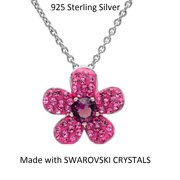 Amanda Rose Pink Flower Pendant made with Swarovski Crystals