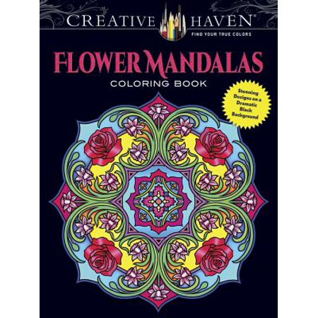 Creative Haven Flower Mandalas Coloring Book : Stunning Designs on a Dramatic Black Background