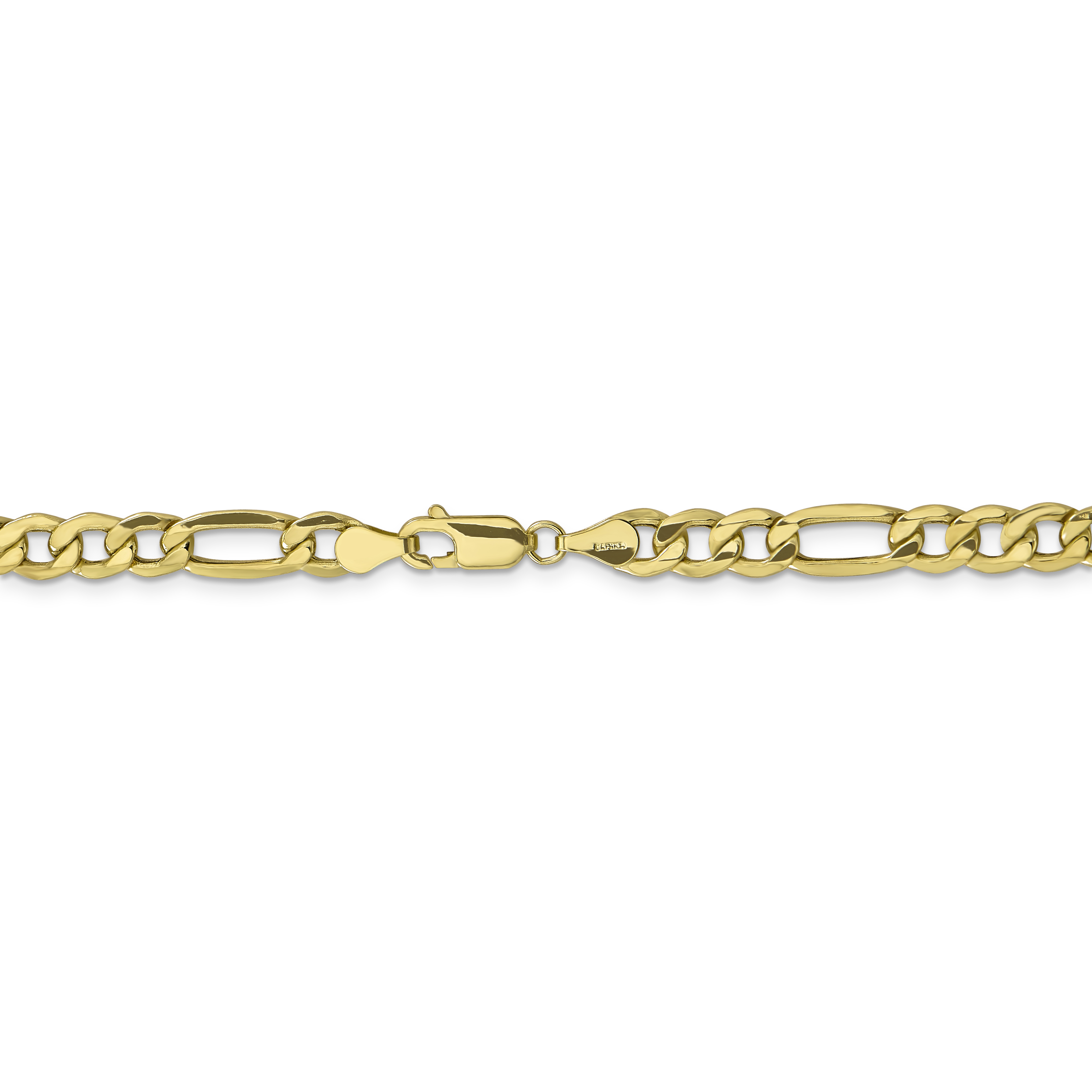 10K Yellow Gold 6mm Semi-Solid Figaro Chain 24 IN - image 1 of 5