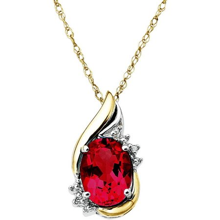 Sterling Silver with 10kt Yellow Gold Oval Created Ruby and Diamond Accent Pendant Necklace
