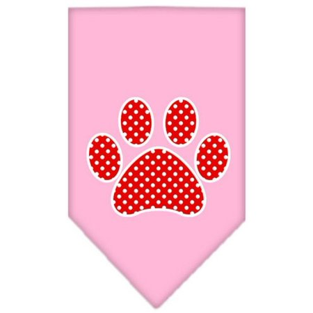 Red Swiss Dot Paw Screen Print Bandana Light Pink Large (Red Swiss Dot)