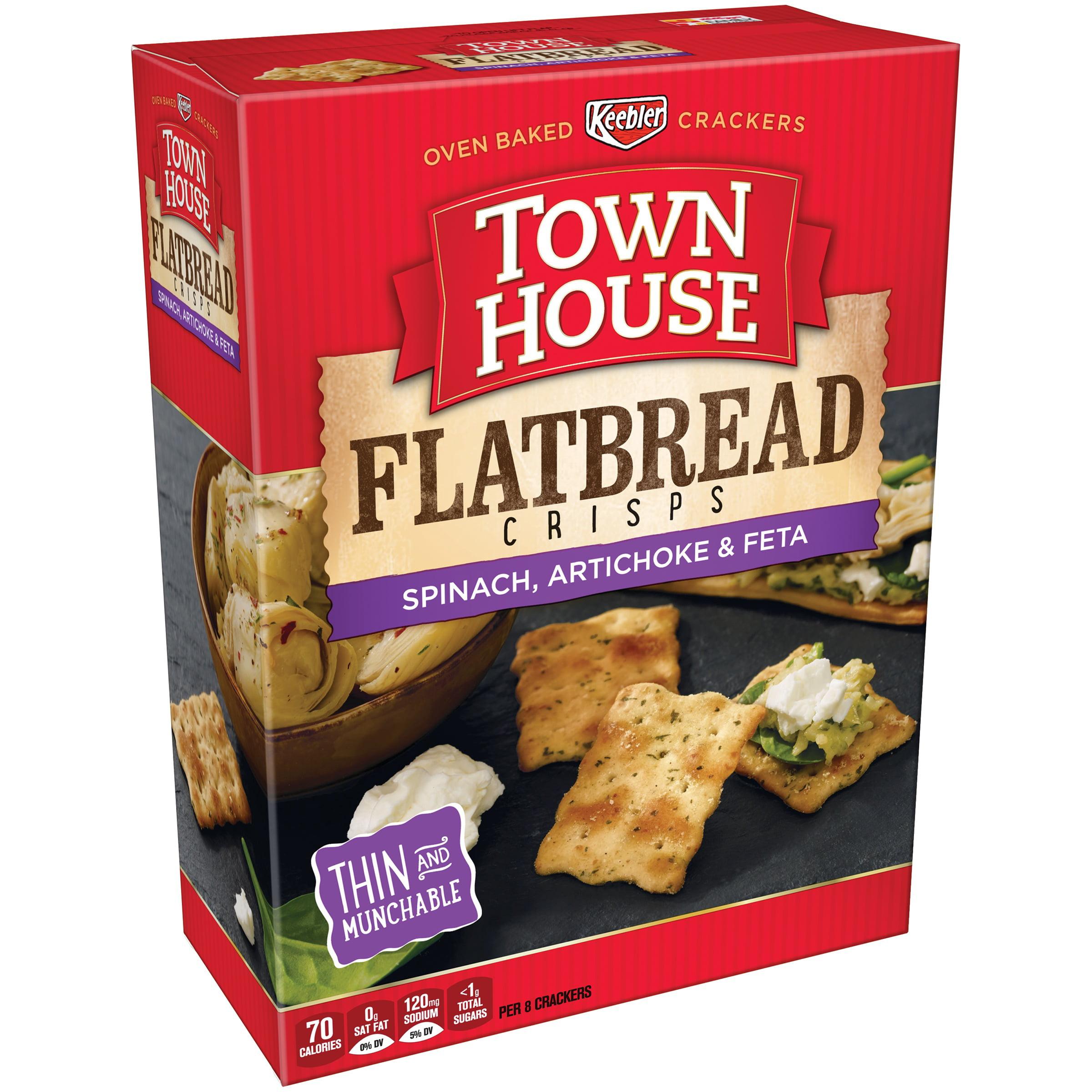 Town House Spinach, Artichoke & Feta Flatbread Crisps 9.5 oz. Box by Kellogg Sales Co.