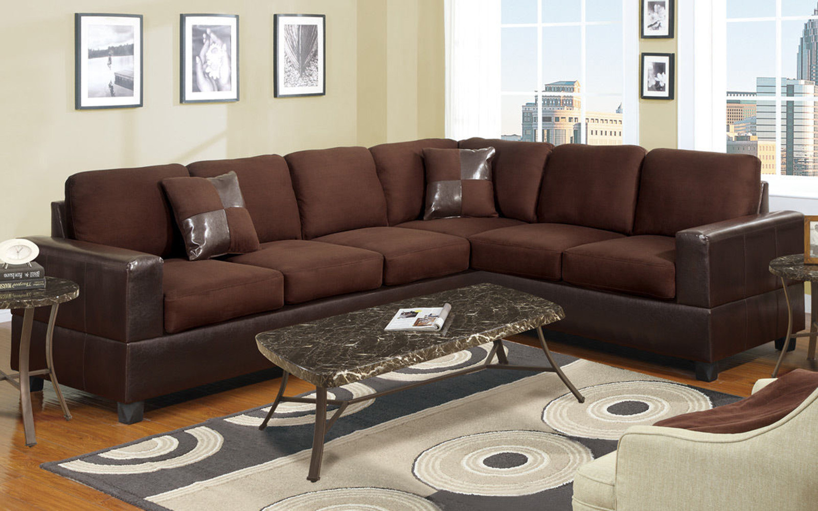 Captivating 2 Piece Modern Large Microfiber And Faux Leather Sectional Sofa